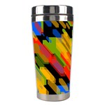 Colorful shapes on a black background Stainless Steel Travel Tumbler Left