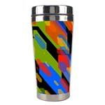 Colorful shapes on a black background Stainless Steel Travel Tumbler Right