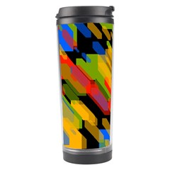 Colorful Shapes On A Black Background Travel Tumbler