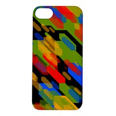 Colorful shapes on a black background Apple iPhone 5S Hardshell Case