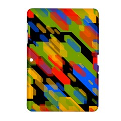 Colorful shapes on a black background Samsung Galaxy Tab 2 (10.1 ) P5100 Hardshell Case