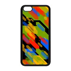 Colorful shapes on a black background Apple iPhone 5C Seamless Case (Black)