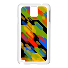 Colorful shapes on a black background Samsung Galaxy Note 3 N9005 Case (White)