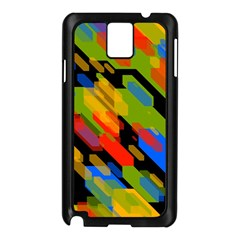 Colorful shapes on a black background Samsung Galaxy Note 3 N9005 Case (Black)