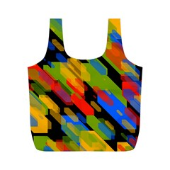 Colorful Shapes On A Black Background Full Print Recycle Bag (m)