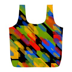 Colorful shapes on a black background Full Print Recycle Bag (L)