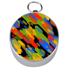 Colorful shapes on a black background Silver Compass