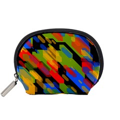 Colorful shapes on a black background Accessory Pouch (Small)