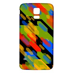 Colorful shapes on a black background Samsung Galaxy S5 Back Case (White)