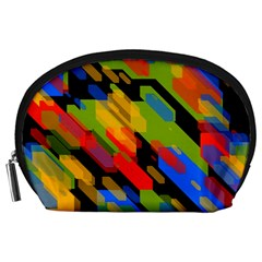 Colorful Shapes On A Black Background Accessory Pouch (large)