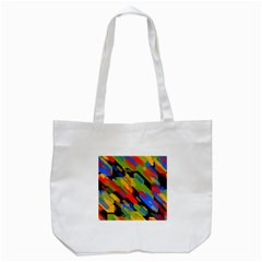Colorful shapes on a black background Tote Bag (White)