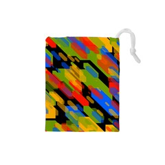 Colorful shapes on a black background Drawstring Pouch (Small)