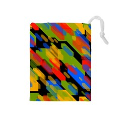 Colorful shapes on a black background Drawstring Pouch (Medium)