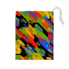 Colorful shapes on a black background Drawstring Pouch (Large)