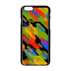Colorful shapes on a black background Apple iPhone 6 Black Enamel Case