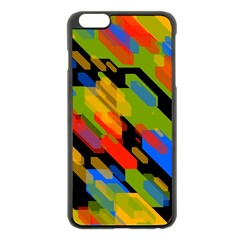 Colorful shapes on a black background Apple iPhone 6 Plus Black Enamel Case