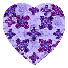 Deluxe Ornate Pattern Design In Blue And Fuchsia Colors Jigsaw Puzzle (heart)