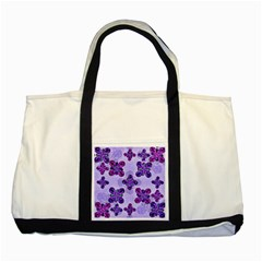 Deluxe Ornate Pattern Design In Blue And Fuchsia Colors Two Toned Tote Bag