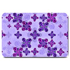Deluxe Ornate Pattern Design in Blue and Fuchsia Colors Large Door Mat