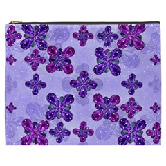 Deluxe Ornate Pattern Design In Blue And Fuchsia Colors Cosmetic Bag (xxxl)