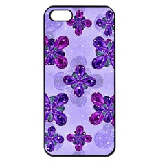 Deluxe Ornate Pattern Design In Blue And Fuchsia Colors Apple Iphone 5 Seamless Case (black)