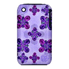 Deluxe Ornate Pattern Design In Blue And Fuchsia Colors Apple Iphone 3g/3gs Hardshell Case (pc+silicone)