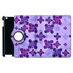 Deluxe Ornate Pattern Design in Blue and Fuchsia Colors Apple iPad 3/4 Flip 360 Case