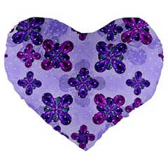 Deluxe Ornate Pattern Design In Blue And Fuchsia Colors 19  Premium Heart Shape Cushion
