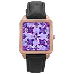 Deluxe Ornate Pattern Design in Blue and Fuchsia Colors Rose Gold Leather Watch