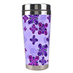 Deluxe Ornate Pattern Design In Blue And Fuchsia Colors Stainless Steel Travel Tumbler