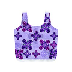 Deluxe Ornate Pattern Design in Blue and Fuchsia Colors Reusable Bag (S)