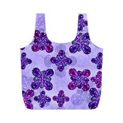 Deluxe Ornate Pattern Design in Blue and Fuchsia Colors Reusable Bag (M)