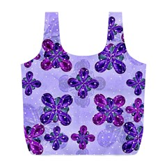 Deluxe Ornate Pattern Design in Blue and Fuchsia Colors Reusable Bag (L)