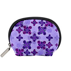Deluxe Ornate Pattern Design In Blue And Fuchsia Colors Accessory Pouch (small)