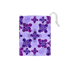 Deluxe Ornate Pattern Design in Blue and Fuchsia Colors Drawstring Pouch (Small)