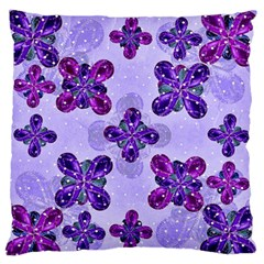 Deluxe Ornate Pattern Design in Blue and Fuchsia Colors Large Flano Cushion Case (Two Sides)