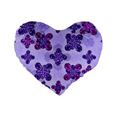 Deluxe Ornate Pattern Design in Blue and Fuchsia Colors 16  Premium Flano Heart Shape Cushion