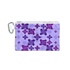 Deluxe Ornate Pattern Design in Blue and Fuchsia Colors Canvas Cosmetic Bag (Small)