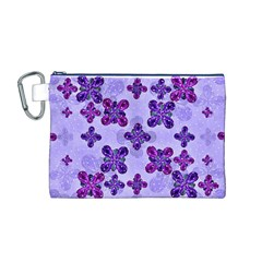 Deluxe Ornate Pattern Design in Blue and Fuchsia Colors Canvas Cosmetic Bag (Medium)