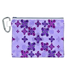 Deluxe Ornate Pattern Design in Blue and Fuchsia Colors Canvas Cosmetic Bag (Large)