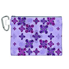 Deluxe Ornate Pattern Design in Blue and Fuchsia Colors Canvas Cosmetic Bag (XL)