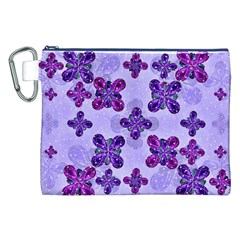 Deluxe Ornate Pattern Design in Blue and Fuchsia Colors Canvas Cosmetic Bag (XXL)
