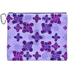 Deluxe Ornate Pattern Design in Blue and Fuchsia Colors Canvas Cosmetic Bag (XXXL)