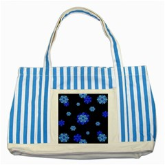 Floral Print Modern Style Pattern  Blue Striped Tote Bag