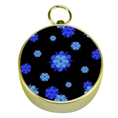 Floral Print Modern Style Pattern  Gold Compass