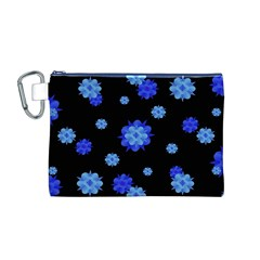 Floral Print Modern Style Pattern  Canvas Cosmetic Bag (Medium)
