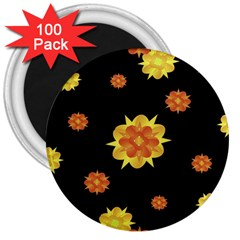 Floral Print Modern Style Pattern  3  Button Magnet (100 pack)