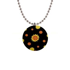 Floral Print Modern Style Pattern  Button Necklace