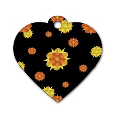 Floral Print Modern Style Pattern  Dog Tag Heart (Two Sided)
