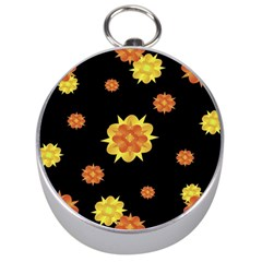 Floral Print Modern Style Pattern  Silver Compass